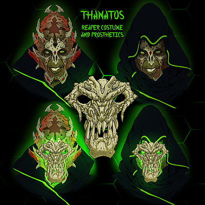 Multistage concept design for Thanatos Reaper. Original Reaper Designs copyright Vancouver FX Studio.   This concept image shows the full head character prosthetic our practical FX team will be sculpting and molding. In addition, a custom Reaper skull mask will be sculpted to slot into the face prosthetic. Hand sewn Reaper cloak with neon alien designs to be created by our Costume Designer.
