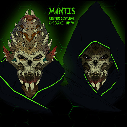 Multistage concept design for Mantis Reaper.Original Designs copyright Vancouver FX Studio.   This concept image shows the full head character prosthetic our practical FX team will be sculpting and molding. Hand sewn Reaper cloak with neon alien designs to be created by our Costume Designer.