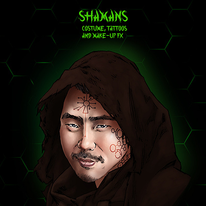 Character concept design for the Shamans. Original Designs copyright Vancouver FX Studio.   Custom digital make-up FX tattoos and practical prosthetic FX. Hand sewn Shaman cloak to be created by our Costume Designer.
