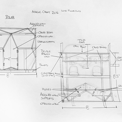 A large portion of the film will be shot within the Magic Craft cockpit, which means we can spend a lot of time creatively determining a design that will best reflect the ship's character and, of course, be functional. Shown here is a snapshot of initial creative cockpit sketches from the top and rear POV.