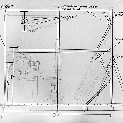 Part of the charm of the Magic Craft cockpit will be the small size. Designing a small space will challenge us to ensure each wall shows visual interest and fun angles. Here is a snapshot of an initial creative cockpit sketche from a side POV.