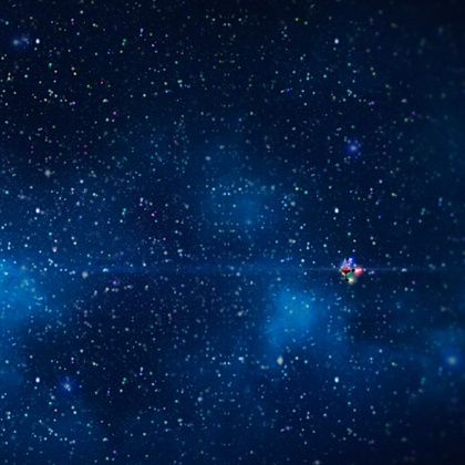 We aim to create a stark contrast between the vastly open galaxy and the claustrophobically small ship interior. Here is a shot from our 2015 test footage showing the Magic Craft travelling through space.