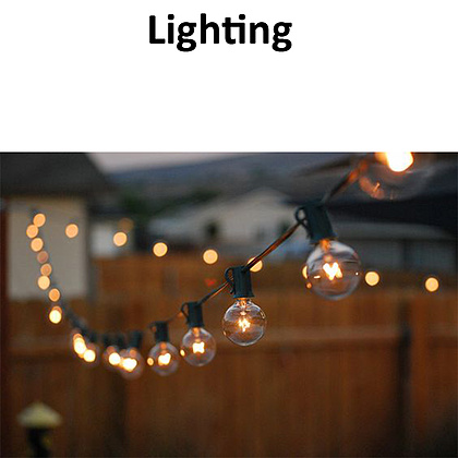 We will use string lights in the church to accent the natural lighting available