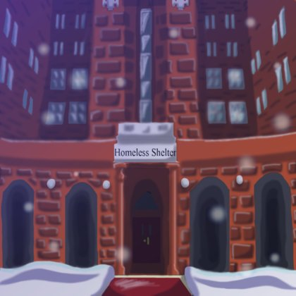 Depicted is the entrance to the homeless shelter in which the majority of the story of Gerry Mouse takes place. The sign is shown in the story from the perspective of Gerry as he looks up to read it while he is looking for a safe haven from the storm.