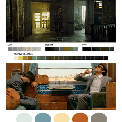 Dark tones, especially browns, yellows and blues, with some light pastels to accommodate  the comedy.