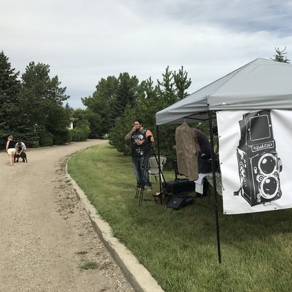 We are super lucky to have secured an old highway just outside of Crossfield this is a photo of our team doing a location scout of the property.
