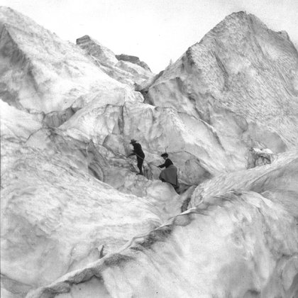 The actress representing marie Vaux will be travelling on the glacier wearing a victorian dress.  This would be a component of both stories although the real fell would be given during the immersive film. The actress would even go down a crevasse to convey the feeling of being inside a glacier.  The linear story would have a few far away views and perhaps drone perspective (park permit pending) to give a real perspective of the scale of the glacier and how humans exploring them are small.