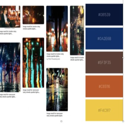 EXT. RESTAURANT  EXT. CLUB Utilizing light, shadow, and a blend of the warm reds and yellows of East is East with the cool blues of an urban nightclub, this palette is the transition zone from the world that Yasmina knows, into the magical world of the nightclub and the adventure in store.
