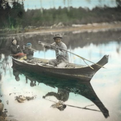 Here we see a Coast Salish Family in their Canoe, the son mimicking his father as he learns proper form to carry on tradition; with the help of actors we hope to recreate this moment in time.