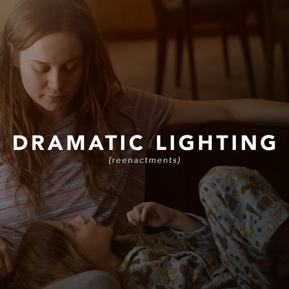Because we have some reenactments, we will be using dramatic lighting inspired by one of our visual references, ROOM.