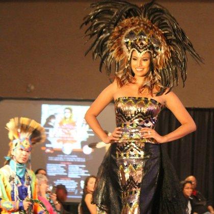 Ashley Callingbull wearing a design by Vancouver fashion designer Himikalas Baker