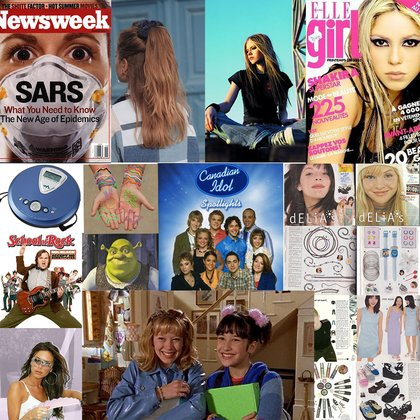 GUWMF is set in early 2003, so with that comes the fashion and toys that were 'hip' in that time! News headings ranging from the SARS outbreak in Canada, to Avril Lavigne and Shakira being the it girls, to Disk-mans, scrunchies, silly bracelets, blue sunglasses and Canadian Idol!  Lucia is a teenage girl who's just trying to fit in, but also stand out. So she's extremely influenced by pop culture and fashion styles of this time.
