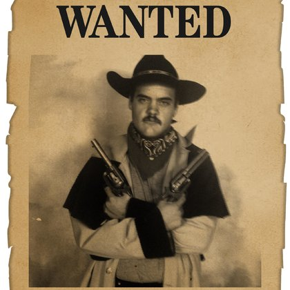 This is Abram in one of his western outfits, as well as a wanted poster he made up to go along with it.