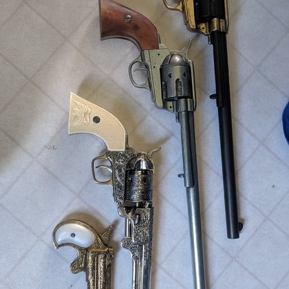 I own several old west replica guns...these will be slung on the hips of various actors.