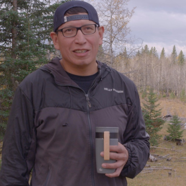 We will interview Brent in a variety of locations. This frame is in a natural setting on the Tsuutina Nation.